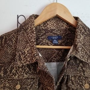 Snake skin patterned jean jacket